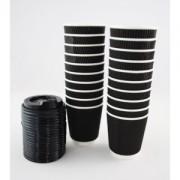 Triple Wall Black Coffee Cup & Lid 8oz Box of 500