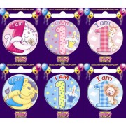 "Birthday Badge - ""I am 1"" Each"
