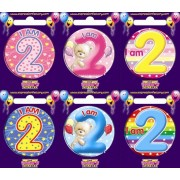 "Birthday Badge - ""I am 2"" Each"