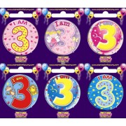 "Birthday Badge - ""I am 3"" Each"