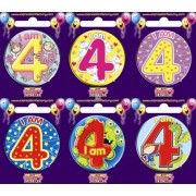 "Birthday Badge - ""I am 4"" Each"