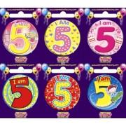 "Birthday Badge - ""I am 5"" Each"