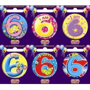 "Birthday Badge - ""I am 6"" Each"