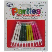 Glitter Candles With Holders (Pack of 24)