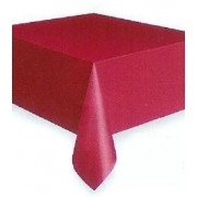 Rectangular Plastic Tablecloth 274cm x 152cm - Burgundy (Each)