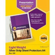 Sheet Protectors A4 Medium Weight Silver Strip 50mic (Pack of 100)