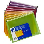 Document Wallet A4 PP With Zip & Gusset Asst 10 Pack