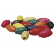 Wooden Oval Threading Beads Assorted 100 Pack