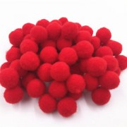 Pom Poms Mini 7mm Red 100 Pack