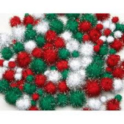 Pom Poms Xmas Glitter (Pack of 138)