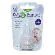 Narrow Neck Fast Flow Teats BabyU  (3 Pack)