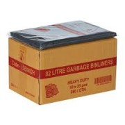 Garbage Bags - Bin Liners 82 Litres -  H/Duty (Pack of 250)