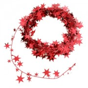 Xmas Garland - Small Stars Red 2.7m