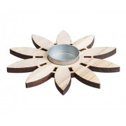 Wooden Flower Tealight Holders (Pack of 5)