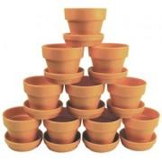 Plastic Terracotta Pots & Saucers 10p