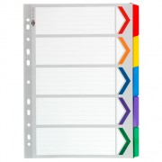 Dividers A4 5 Tab Coloured