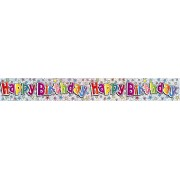 Happy Birthday Banner Hologram Rainbow 2.6 Metres