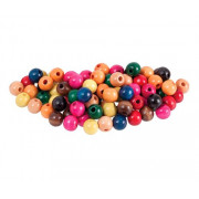 Beads Wooden 12mm Assorted Colours (Pack of 100)