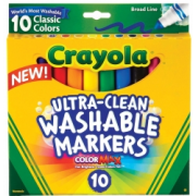Markers Broad Line Ultra-Clean Classic Colours Washable Crayola (Pack of 10)